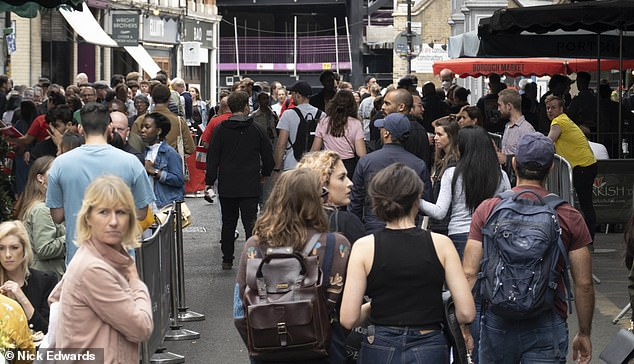 Borough Market in London was busy today as pubs and bars reopened for the first time since lockdown began in March