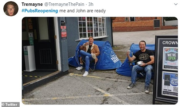 One man shared an image of two people camping outside a pub to convey his excitement