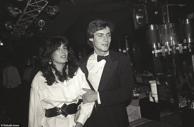 Arm in arm: Ghilane Maxwell (left) with Oxford contemporary David Faber (right) at high-society hangout Annabel's in 1984
