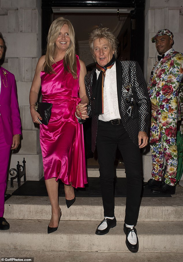Dynamic duo: Rod Stewart and Penny Lancaster looked radiant as they headed for a night out at Annabel's in London on Saturday
