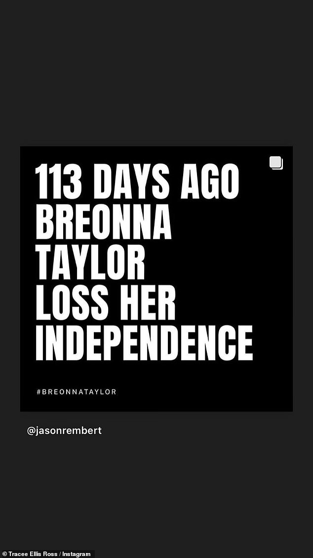Days without justice: '113 days ago Breonna Taylor [lost] her independence,' read Ross' post