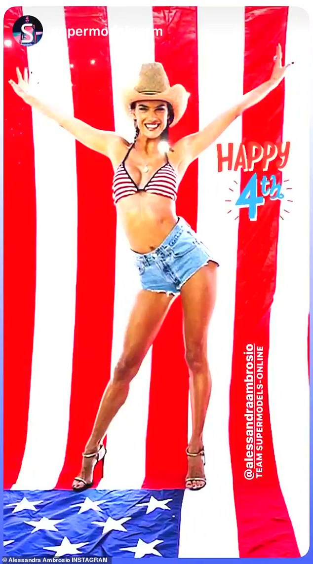 Showing her colors: The former supermodel rocked Daisy Dukes, a bikini top and heels in a photo celebrating the July 4th holiday