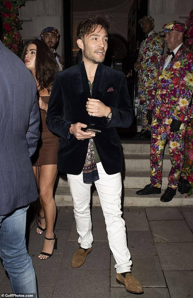 Smart:The Gossip Girl star, 33, looked suave as he headed out of the celebrity hot spot in London after pubs and bars were allowed to reopen in the latest easing of lockdown