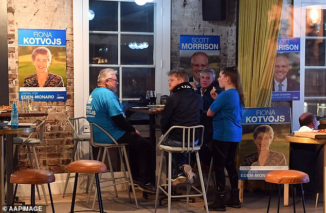 Supporters wait for Liberal candidate for Eden-Monaro Fiona Kotvojs at the post election function at the Royal Hotel in Queanbeyan, NSW
