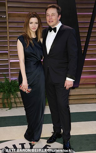 Musk and Riley are pictured together at right at the same event in 2014