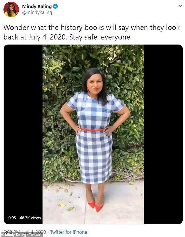 Stylish activism:Mindy Kaling put on her most stylish red, white, and blue ensemble for the Fourth Of July, but made sure to acknowledge the country's current social climate