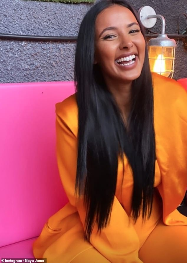 Watch her glow:The TV and radio presenter, 25, rocked a bright yellow suit by Balmain as she treated herself to dinner with her pals at 202 Kitchen in Birmingham