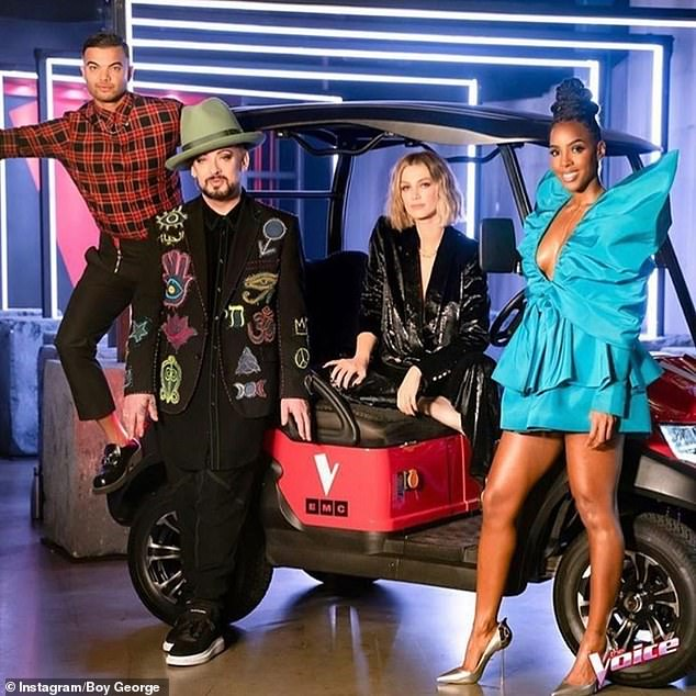 Oops: The Voice's Siala Robson forgot the lyrics to her song during Sunday's performance. Pictured, (L-R) coaches Guy Sebastian, Boy George, Delta Goodrem and Kelly Rowland