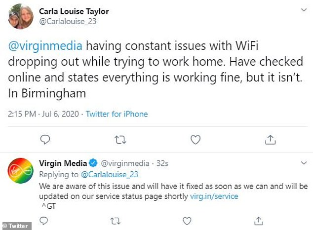 Users who had trouble logging in turned to Twitter to try to get an explanation from Virgo Media explaining why their broadband was not working properly.