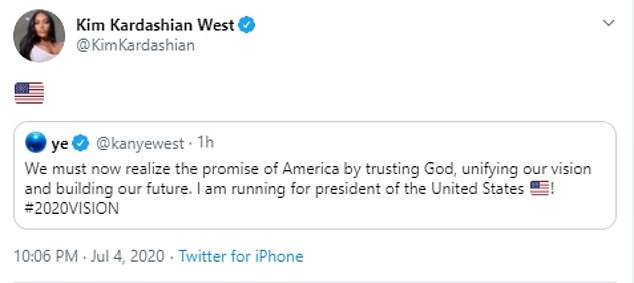 His wife, Kim Kardashian West, signaled her support for his run, tweeting out an American flag emoji with his announcement