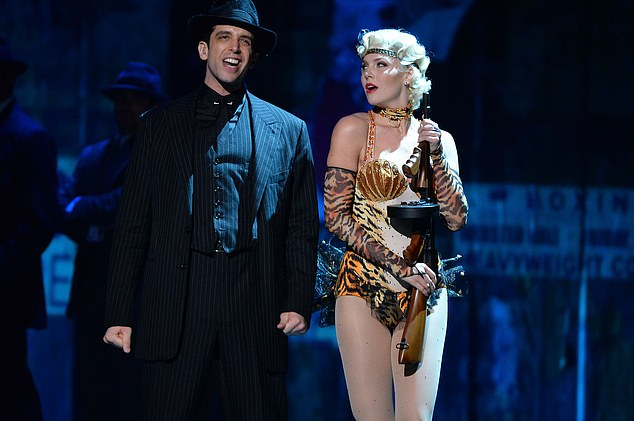 Before Cordero got sick in March, the couple had recently moved from New York to Los Angeles so the Broadway actor could star in Rock of Ages Hollywood (pictured:Nick Cordero and the cast 'Bullets Over Broadway' perform onstage during the 68th Annual Tony Awards at Radio City Music Hall on June 8, 2014)