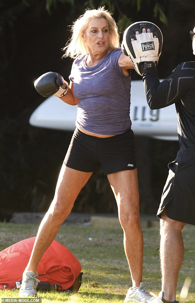 Fighting fit!The former aerobics instructor was spotted punching up a storm with her personal trainer at Sydney's Balmoral Beach on Sunday.
