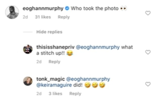 'Who took the photo?' Matthew's Love Island co-star Eoghann Murphy cheekily asked who he was this and a friend responded: 'Keira did!'