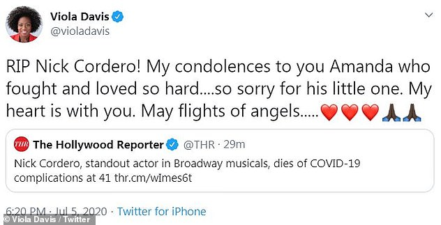 Unimaginable:Actress Viola Davis penned a touching tribute to Cordero and remarked on the actor's unimaginable battle on her Twitter page, as well