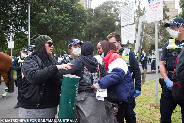 Tensions finally reached boiling point outside the towers in Flemington