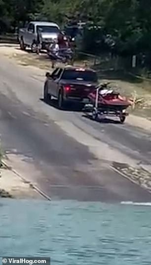 The trailer jackknifes multiple times as the hapless driver struggles to keep his trailer flush with their truck