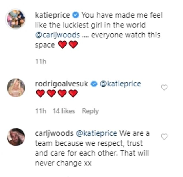 New romance: Katie, who famously married Kieran Hayler after two months urged her fans to 'watch this space' when it comes to her new romance and Carl wrote about respecting Katie