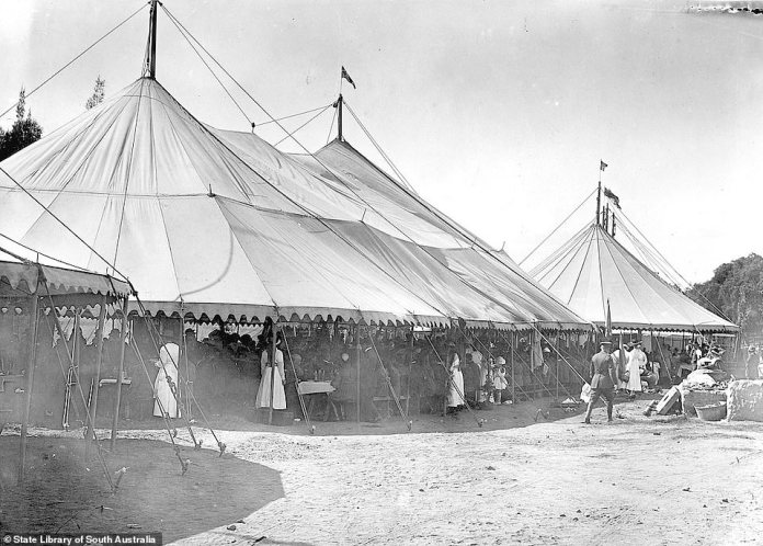 Two crowded marquees thought to be at the influenza quarantine camp set up on Jubilee Oval, Adelaide, during the epidemic in 1919