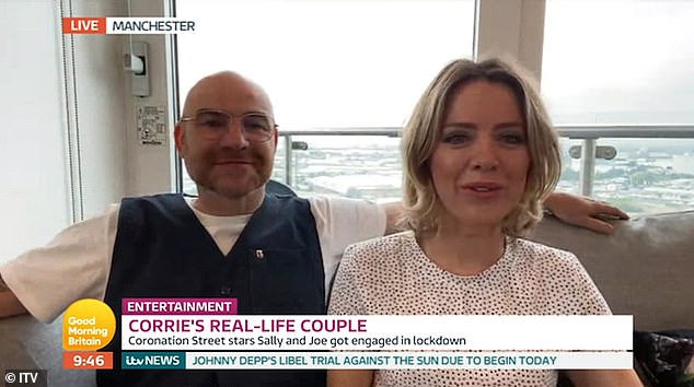 'We clicked slowly': Coronation Street's Joe Duttine and Sally Carman shed light on their recent engagement as they appeared on Tuesday's Good Morning Britain