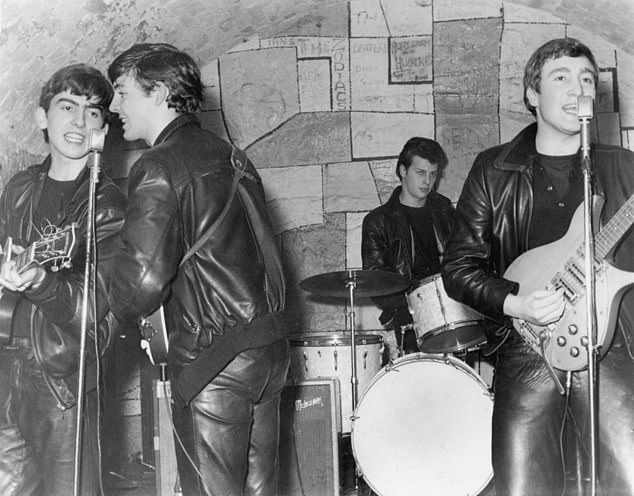 Pete Best behind the drums in Hamburg, Germany, in August 1960 before his dismissal