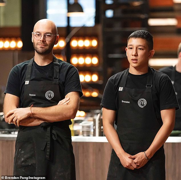 Taking a toll: Reece Hignell (left) has admitted that being away for six months to film MasterChef was 'hard' on his relationship with his partner, Dene Whitfield. Reece is pictured here with his co-star Brendan Pang (right)