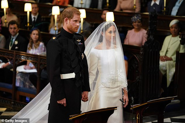 At the Duke and Duchess of Sussex's wedding in 2018 (pictured), Meghan's veil had beenembroidered with the flowers of every single Commonwealth nation