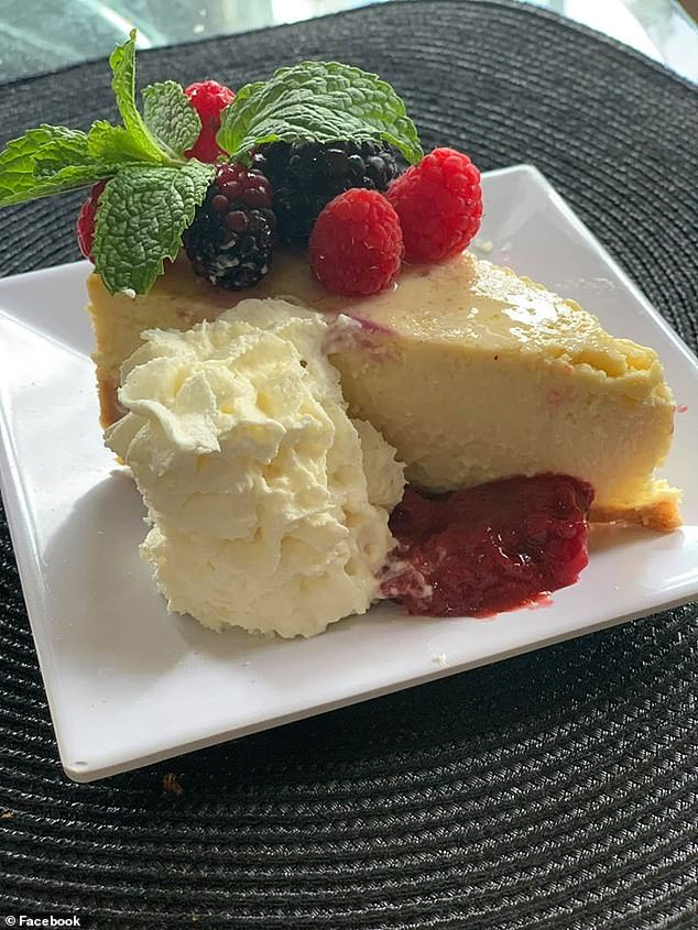 Ms Rangel adds the zest of a lemon and two generous tablespoons of vanilla extract to her cheesecake (pictured) to balance out sweetness and conceal any traces of egg flavour
