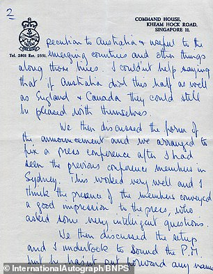 As the letter goes on sale, parts of the note have been published, including Prince Philip's comments that if Australia is 'doing half as well as England and Canada they could be pleased with themselves'