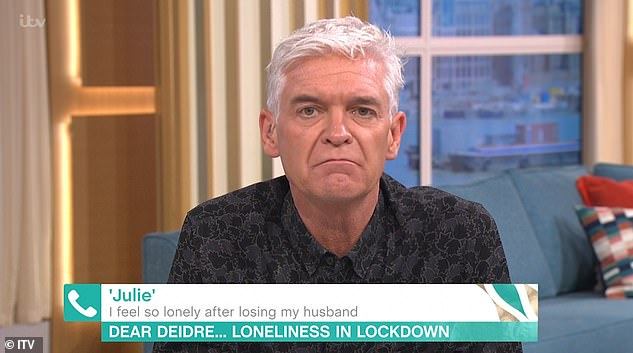 Sad: Phillip offered comfort to This Morning viewer who admitted she was struggling with loneliness after losing her husband last year
