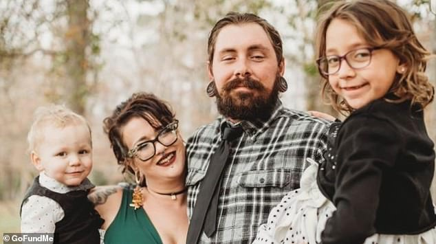 Jameson,'s 30-year-old mother, Rachel Long, died in the blaze. His sister Roxxi was also taken to hospital. The family are pictured with dad Corey