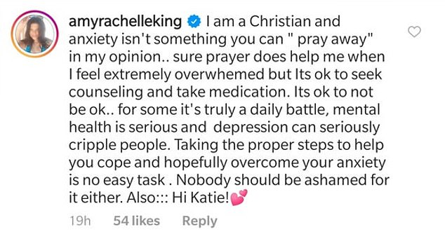 Amy commented on another post about Jinger's remarks, arguing that mental health is serious business and you advising that people 'pray away' anxiety isn't OK