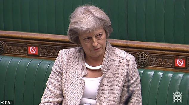 Former Prime Minister Theresa May, pictured in the Commons last month,was paid a staggering £56,000 for a speech she gave online last month