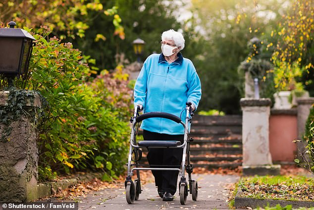 Pictured: A file photo shows an elderly woman walking supported by a frame during the coronavirus outbreak.Birmingham council said the £1,000 incentive, from a £5million pot, was to help pay for any additional costs including extra personal protective equipment, additional staff and cleaning so Covid-19 patients could be isolated