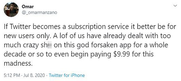 The shift into a subscription platform would be a great source of revenue for Twitter, as it currently relies on advertisements - but the idea was not welcomed by users