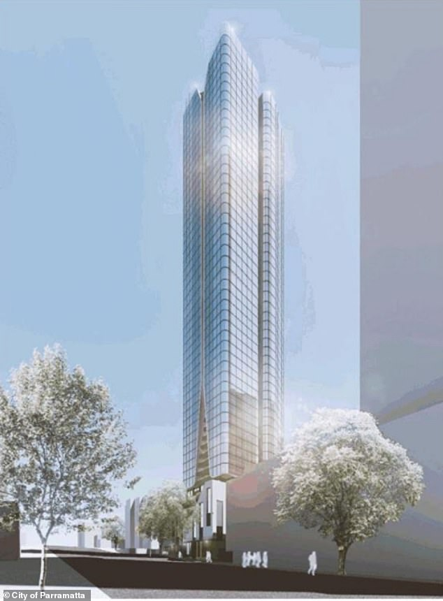 Developers are hoping to push through plans for the construction of a towering block of units at Parramatta in Sydney's western suburbs (pictured: an artist's rendition of the proposed development)