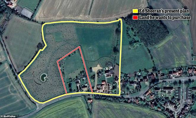 Expansion... again: Ed Sheeran wants to buy out the owners of three houses (in the red box) that sit on the edge of his £3.7m Suffolk estate because their gardens encroach on his land - he owns everything in the yellow box