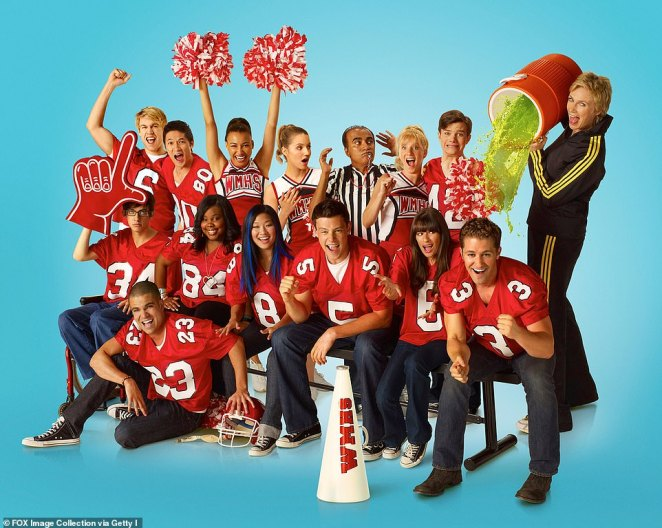 Not so Glee-ful: While Glee was easily one of the cheeriest shows to ever grace television screens, behind-the-scenes a murky curse has long-prevailed among its troubled cast and crew (Pictured top row L-R: Chord Overstreet, Harry Shum Jr., Naya Rivera, Dianna Agron, Iqbal Theba, Heather Morris, Chris Colfer and Jane Lynch. Bottom row L-R: Kevin McHale, Mark Salling (floor), Amber Riley, Jenna Ushkowitz, Cory Monteith, Lea Michele and Matthew Morrison in 2011)