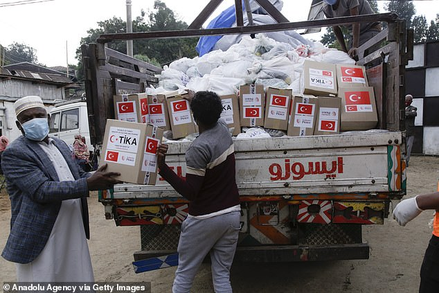 Pictured:Turkish Cooperation and Coordination Agency (TIKA) distributes food aid to Yatim Children Care Center in Ethiopia as part of their Ramadan campaign, on May 21, 2020