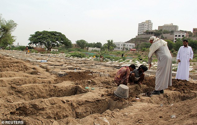Yemen is ranked 190 out of 195 countries in the world for its Global health preparedness, with 53 percent of its population facing crisis levels of hunger or worse in 2019. Above, people dig graves at a cemetery where victims of coronavirus are buried in Taiz, Yemen June 23, 2020