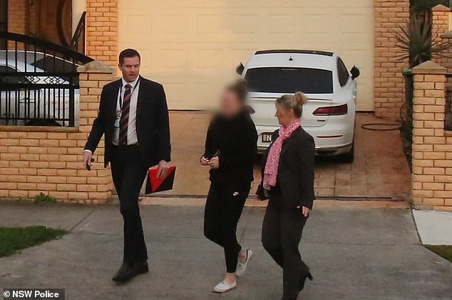 The teacher was arrested and charged about 7am on Friday (pictured) and is in her fourth day of custody at Silverwater