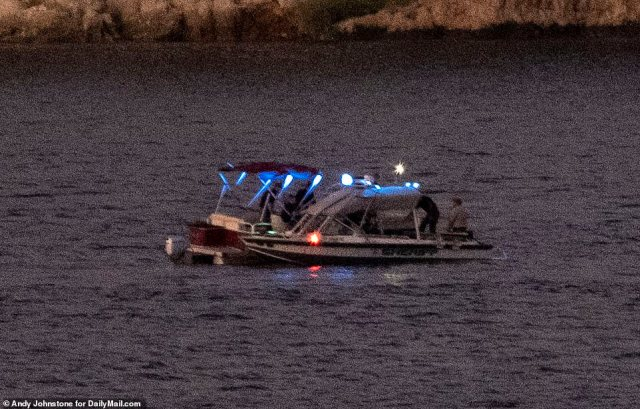 Rescuers sail on the lake as the light faded last night, with authorities now saying they are engaged in a 'recovery operation' and believing that Naya Rivera died in a 'tragic accident'