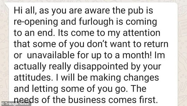 The message staff said had been sent by managers at the pub as they reopened again