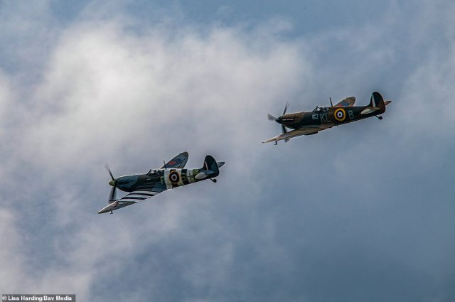 The planes -two of the most famous aircraft from the war - took to the skies this morning in tribute to the Forces Sweetheart