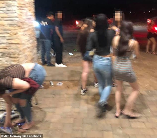 The partygoers are seen outside the property in in the highly aspirational area of North Peoria