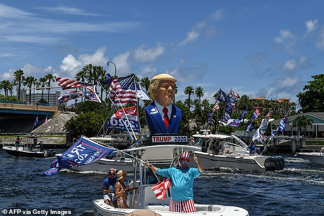 President Donald Trump supporters wave flags as they participates in a boat rally to celebrate Donald Trump's birthday in Fort Lauderdale in June