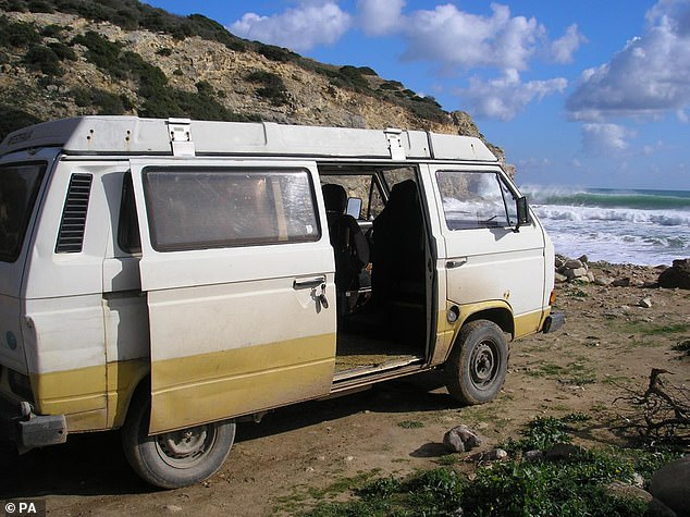 The suspect, who is in prison in Germany, has been linked to an early 1980s camper van - with a white upper body and yellow skirting, registered in Portugal - which is seen here on the Algarve in 2007