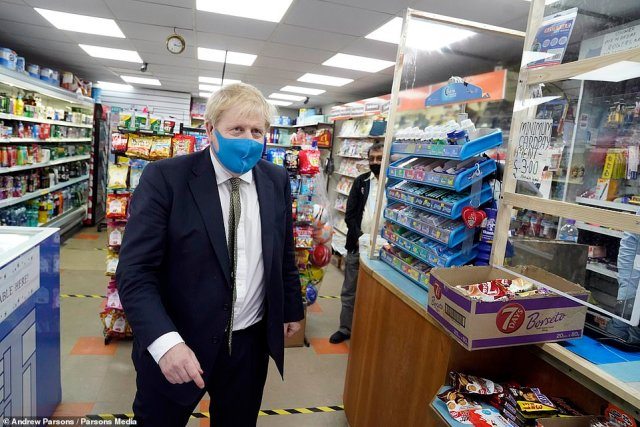 The Prime Minister (pictured yesterday) urged businesses operating remotely to 'get back into work' to breathe life back into the cash-starved high street and jump-start the recovery