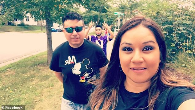 Juan Duran (pictured above left with Esparza) said they believed her trip to the hospital would be short as the young mother was healthy when she first started showing symptoms