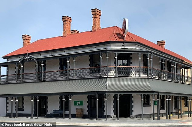 Pictured: the Bordertown Hotel, South Australia, near the border with Victoria. Staff and patrons were locked down for hours on Friday night after a truck driver from interstate who had a meal there was deemed a close contact of a confirmed coronavirus case