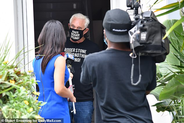 Stone spoke with local reporters outside his Florida residence